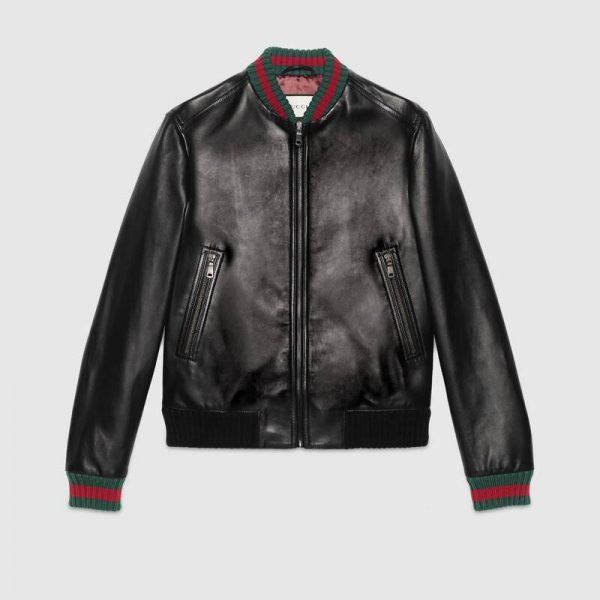 Gucci Bomber Black Leather Jacket