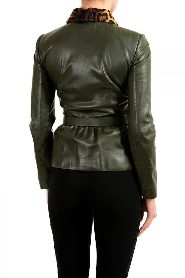 Gucci Fur Trimmed Green Belted Basic Jacket back