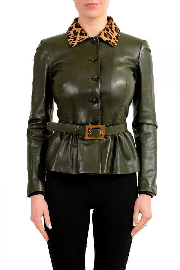 Gucci Fur Trimmed Green Belted Basic Jacket front