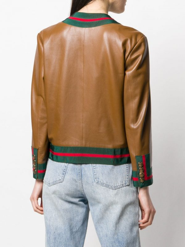Gucci Web Trim Brown Leather Jacket back