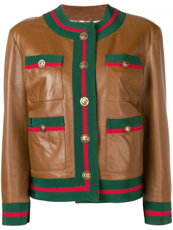 Gucci Web Trim Brown Leather Jacket front