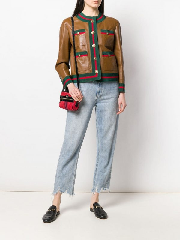 Gucci Web Trim Brown Leather Jacket full