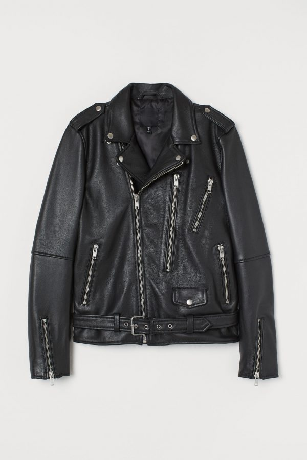 H&M Biker Black Lapel Collar Leather Jacket