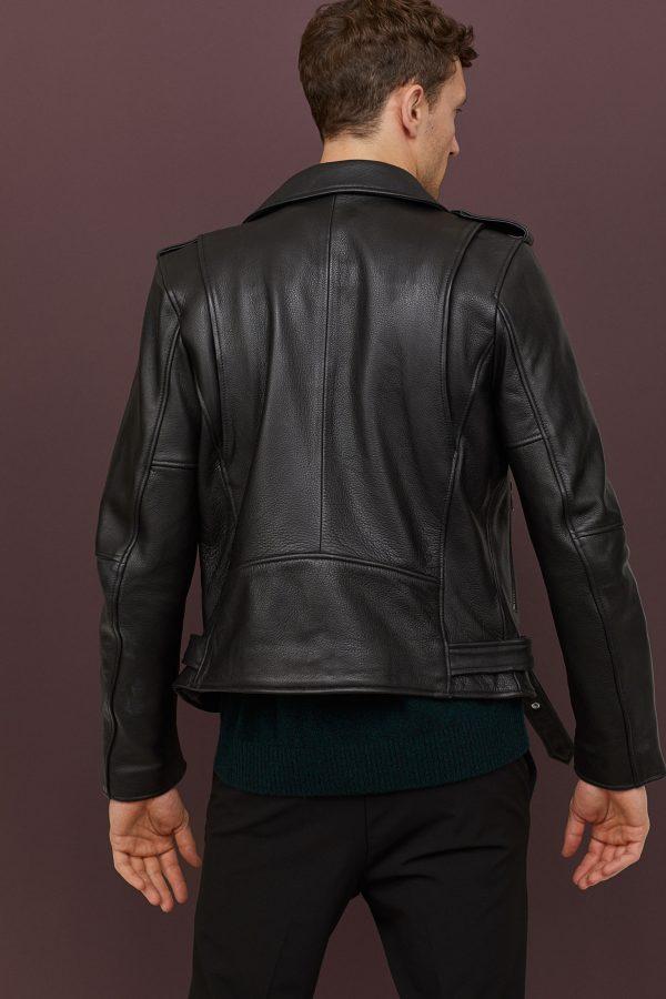 H&M Biker Black Lapel Collar Leather Jacket back