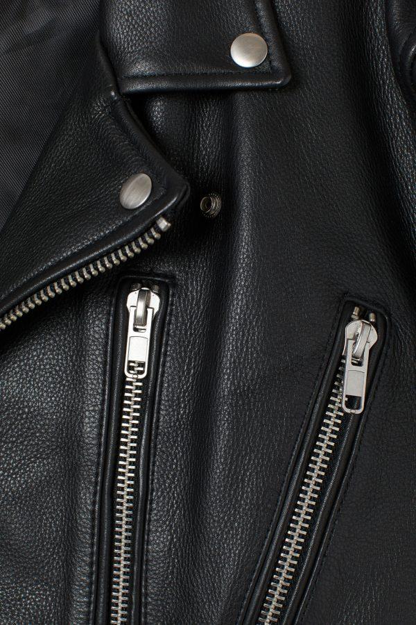 H&M Biker Black Lapel Collar Leather Jacket side