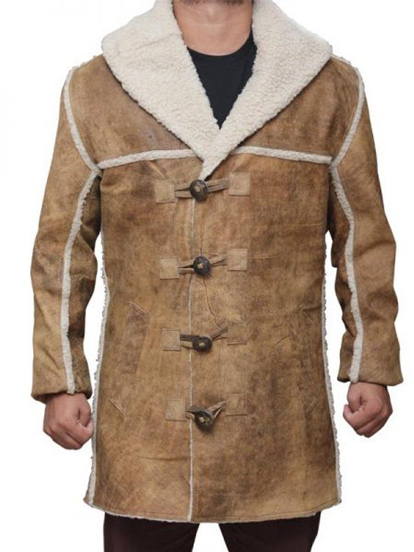 Hell On Wheels Anson Mount Shearling Suede Leather Coat front