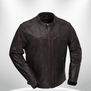 Hipster Rockstar Men's Brown Motorcycle Leather Jacket front