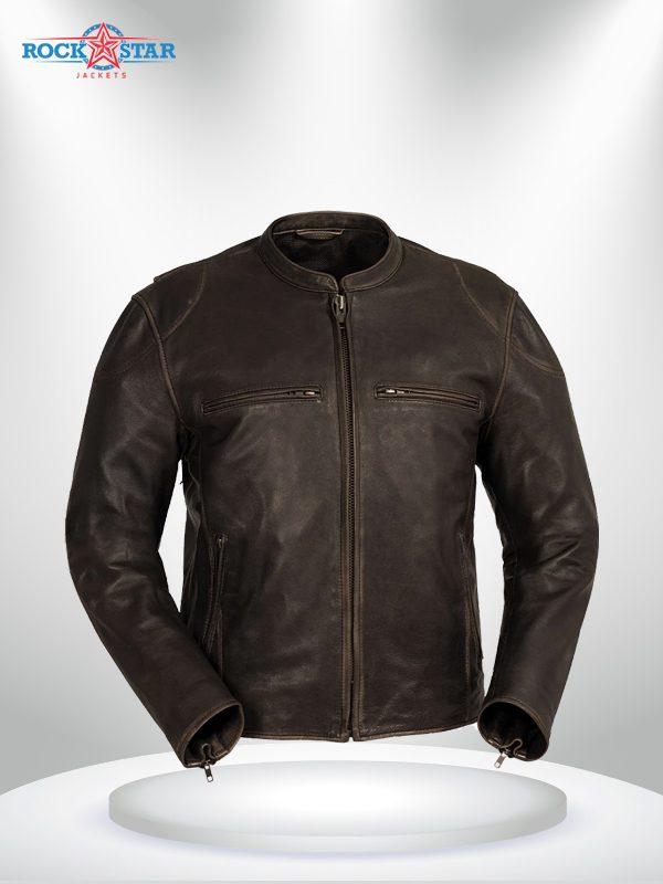 Indy Rockstar Motorcycle Men's Brown & Black Leather Jacket