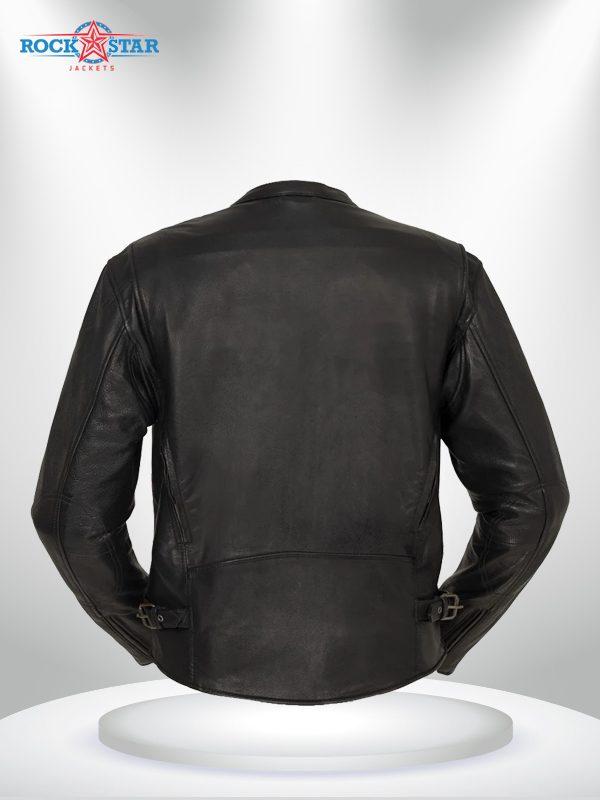 Indy Rockstar Motorcycle Men's Brown & Black Leather Jacket back