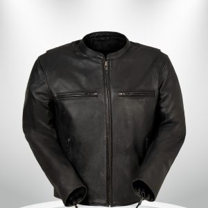Indy Rockstar Motorcycle Men's Brown & Black Leather Jacket front