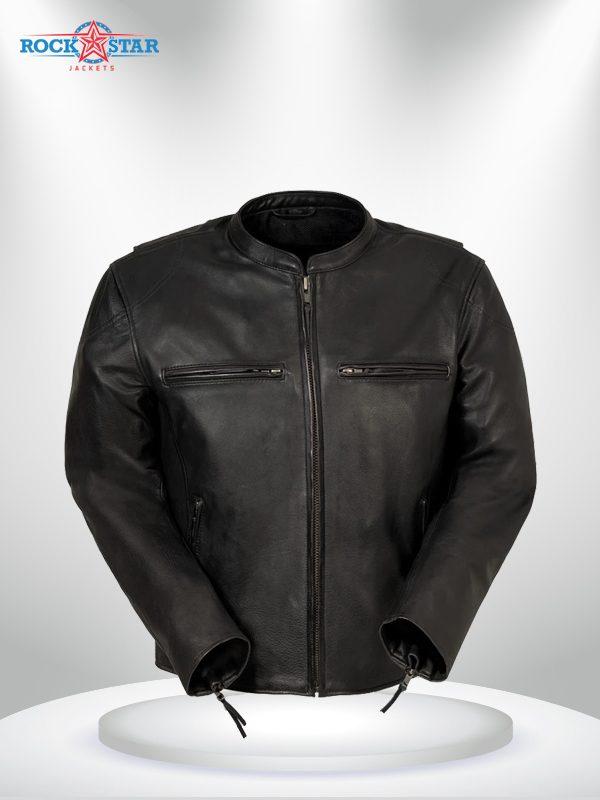 Indy Rockstar Motorcycle Men's Brown & Black Leather Jacket front