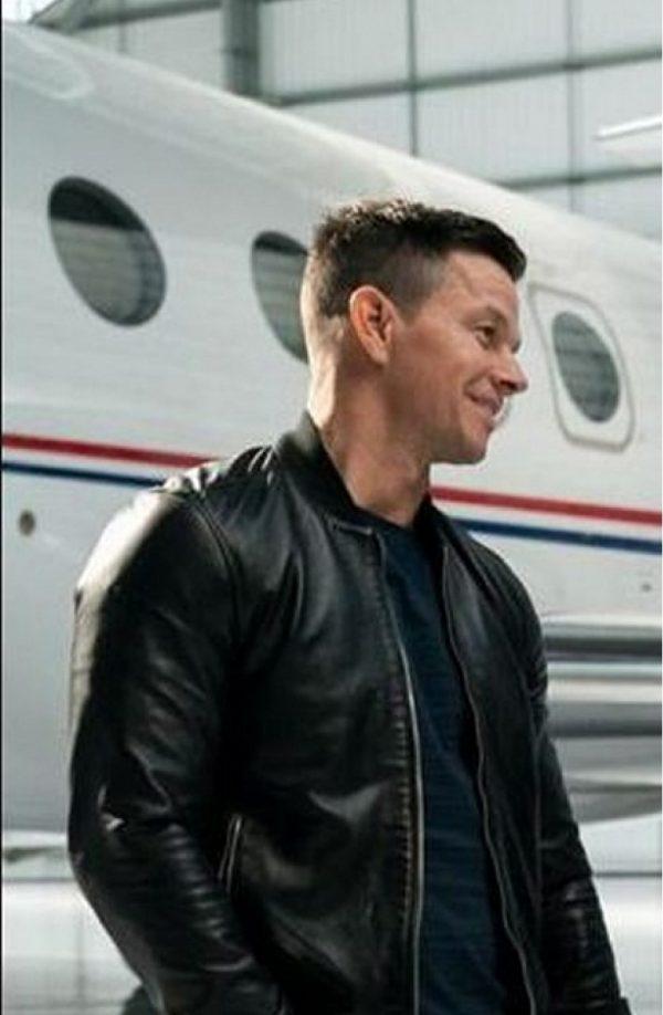 Infinite Mark Wahlberg Black Leather Jacket side