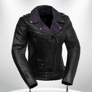 Iris Rockstar Women's Purple Lapel Collar Motorcycle Leather Jacke
