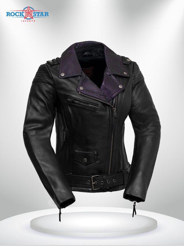 Iris Rockstar Women's Purple Lapel Collar Motorcycle Leather Jacke