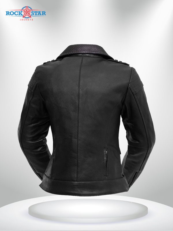 Iris Rockstar Women's Purple Lapel Collar Motorcycle Leather Jacke back