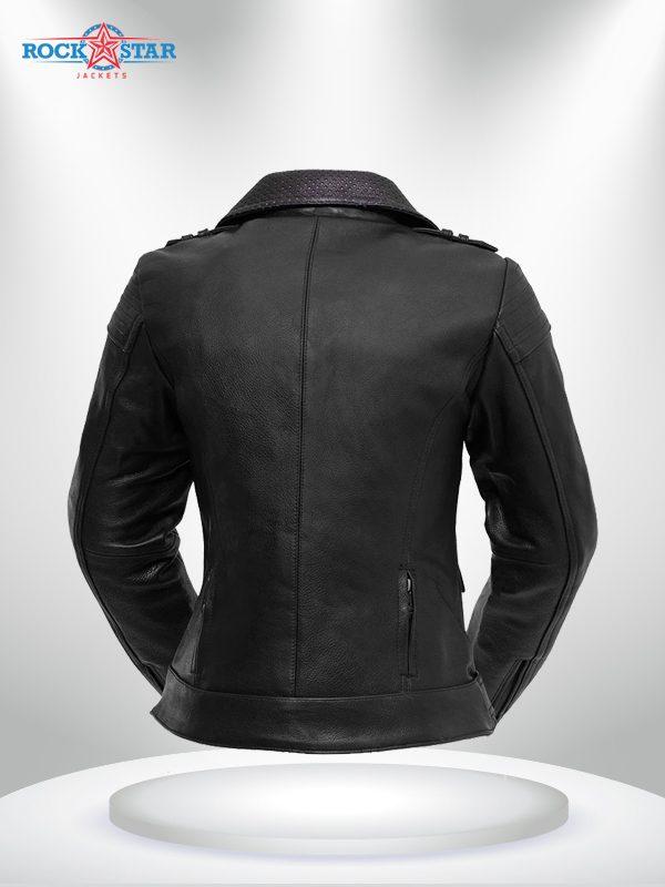 Iris Rockstar Women's Purple Lapel Collar Motorcycle Leather Jacke back