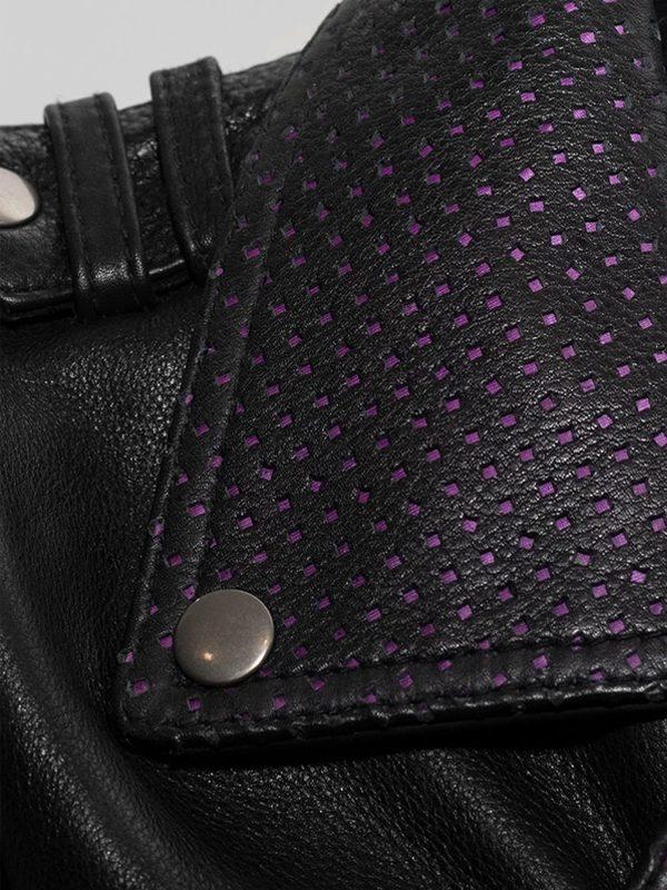 Iris Rockstar Women's Purple Lapel Collar Motorcycle Leather Jacke collar