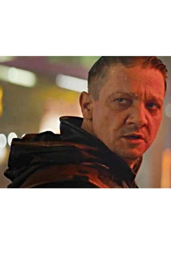 Jeremy Renner Avengers Endgame Hawkeye Black Leather Jacket