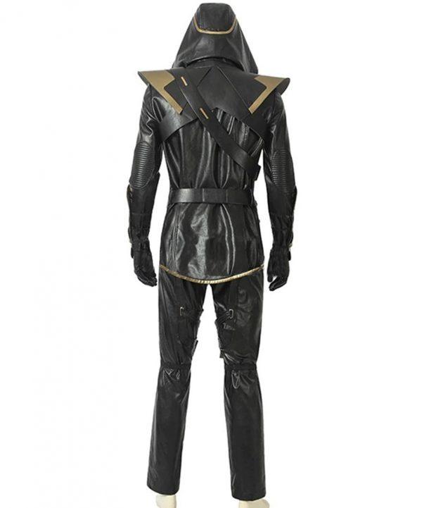 Jeremy Renner Avengers Endgame Hawkeye Black Leather Jacket full
