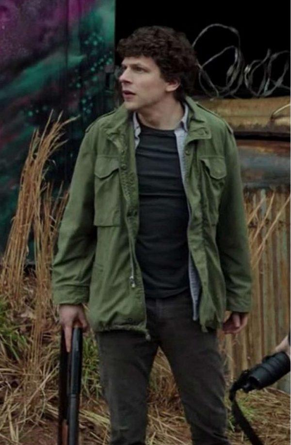 Jesse Eisenberg Zombieland Double Tap Green Cotton Jacket
