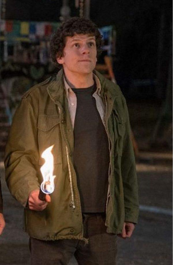 Jesse Eisenberg Zombieland Double Tap Green Cotton Jacket s