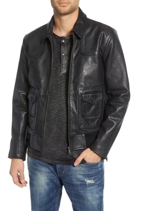 John Varvatos Regular Fit Black Shirt Collar Leather Jacket