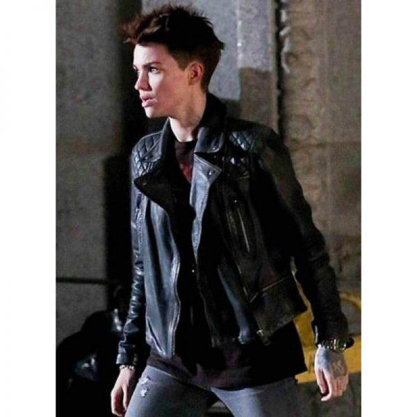 Katherine Kane Batwoman Black Leather Jacket