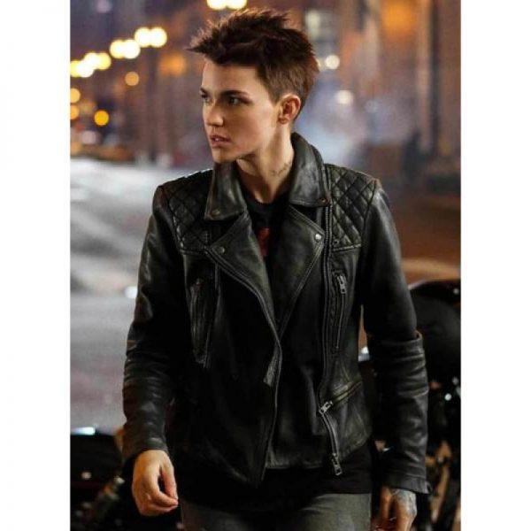 Katherine Kane Batwoman Black Leather Jacket f