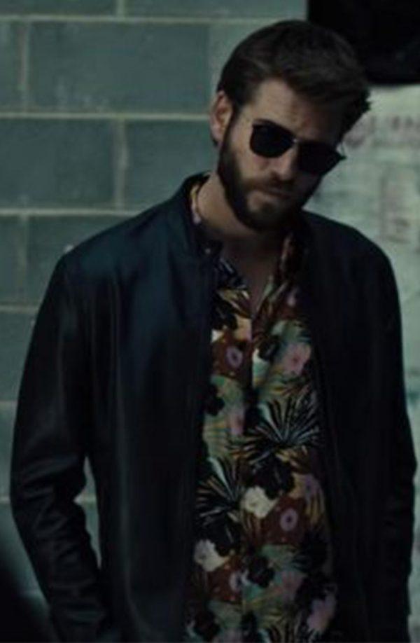 Liam Hemsworth Killerman Black Leather Jacket front