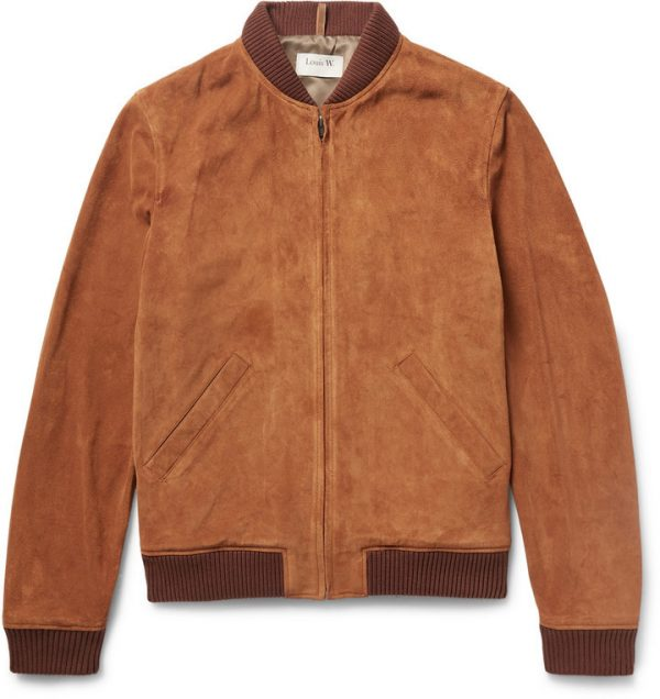 Louis W. Ferris Brown Suede Bomber Jacket front