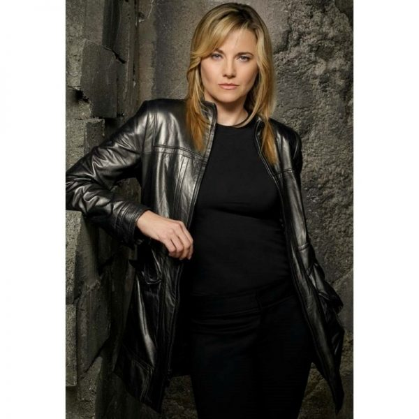 Lucy Lawless Battlestar Galactica Black Leather Jacket f