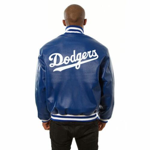 MLB Los Angeles Dodgers Royal Blue Leather Jacket back