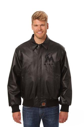 Maimi Marlins Black Baseball Bomber Leather Jacket