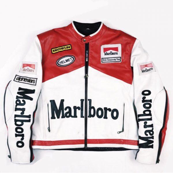 Marlboro Vintage Red & White Racing Leather Jacket