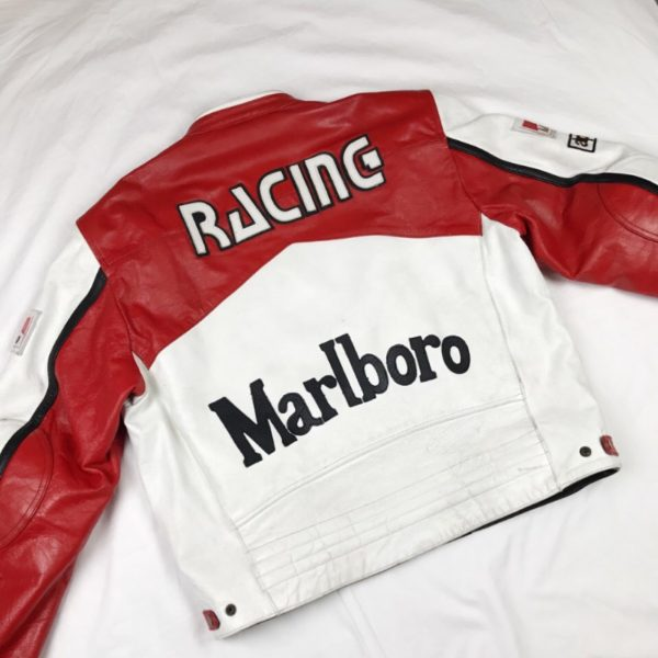 Marlboro Vintage Red & White Racing Leather Jacket f