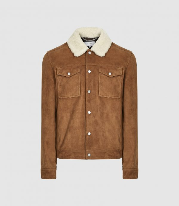 Miles Reiss Suede Trucker Shearling Collar Leather Jacket