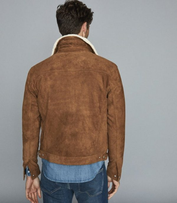 Miles Reiss Suede Trucker Shearling Collar Leather Jacket back