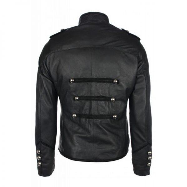 Military Style Black Leather Jacket b