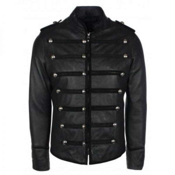Military Style Black Leather Jacket f