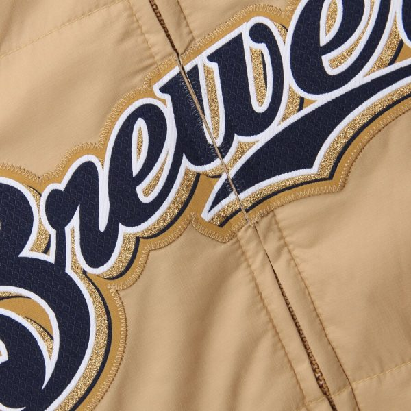 Milwaukee Brewers Majestic Double On-Field Gold Jacket