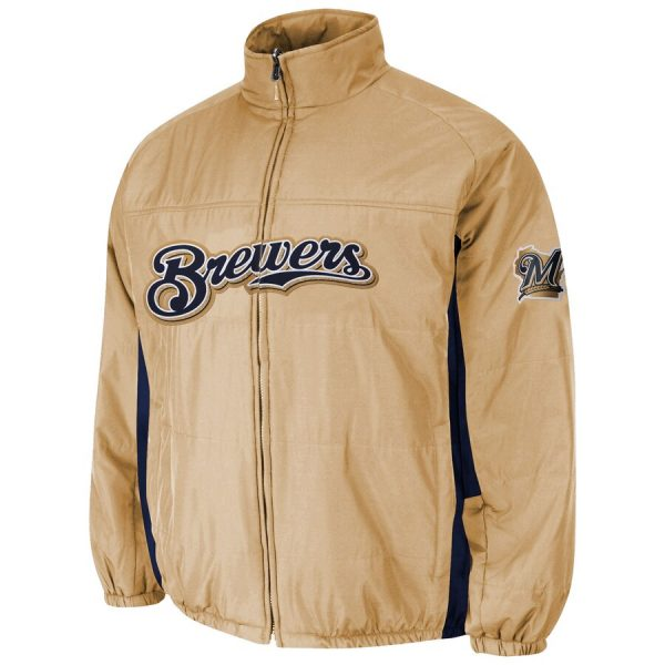 Milwaukee Brewers Majestic Double On-Field Gold Jacket front
