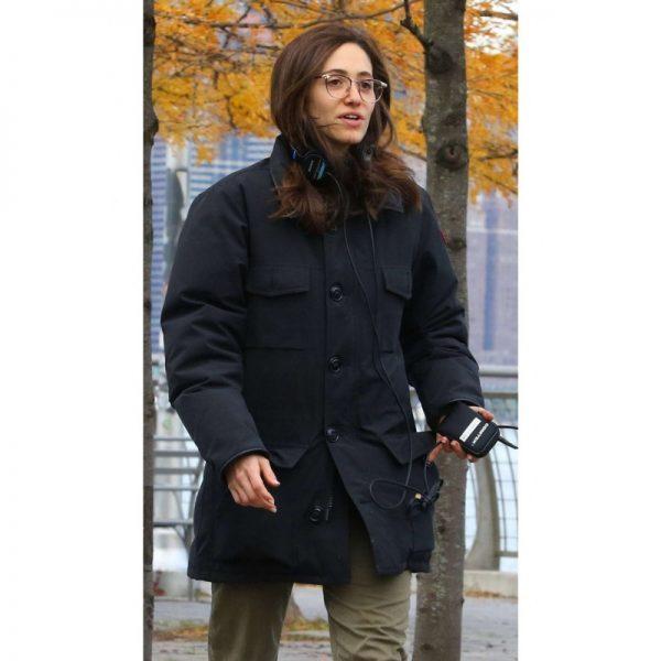 Modern Love Emmy Rossum Black Cotton Coat