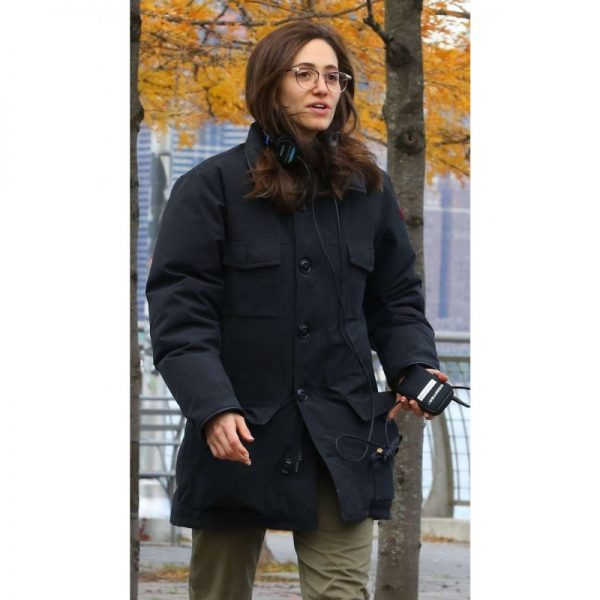 Modern Love Emmy Rossum Black Cotton Coat