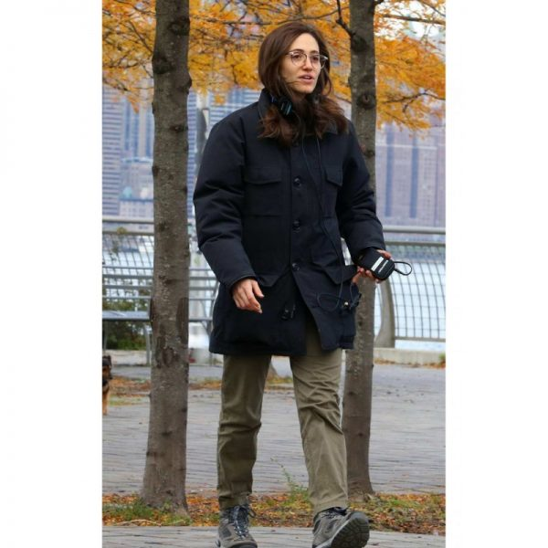 Modern Love Emmy Rossum Black Cotton Coat f