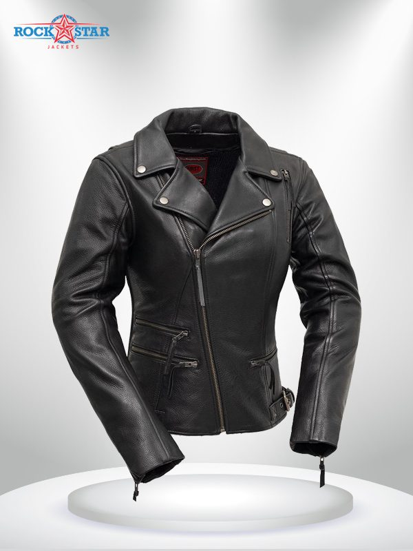 Monte Carlo Rockstar Black Biker Classic Leather Jacke