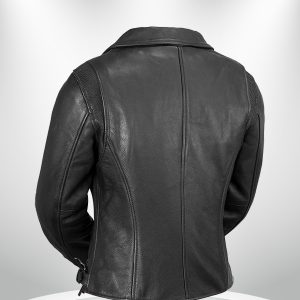 Monte Carlo Rockstar Black Biker Classic Leather Jacke back
