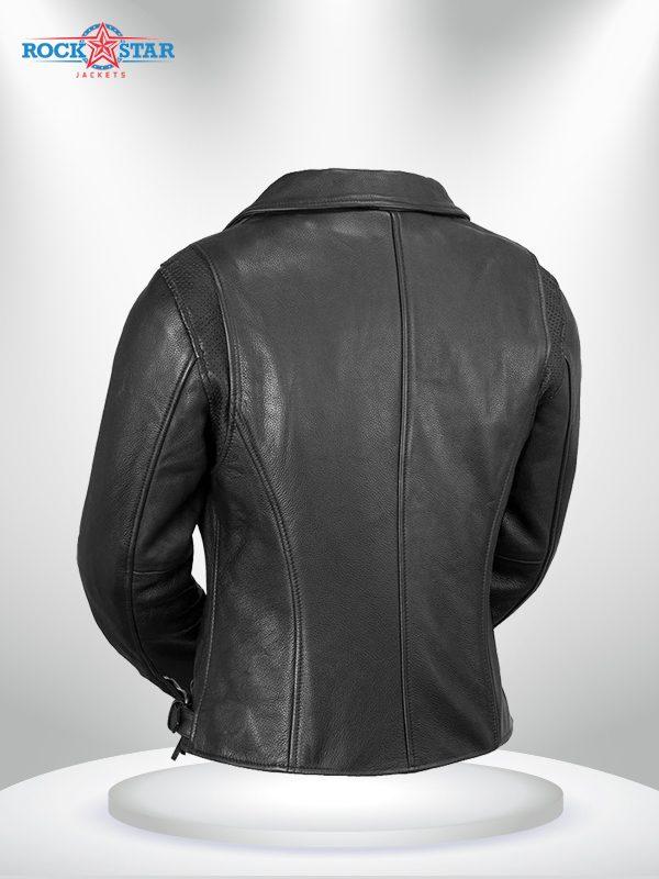 Monte Carlo Rockstar Black Biker Classic Leather Jacke back