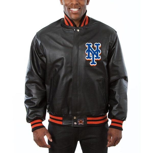 New York Mets Black Team Bomber Leather Jacket front