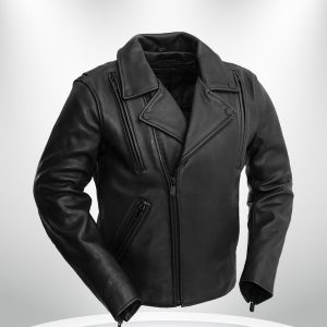 Night Rider Rockstar BlackMaroon Men's Leather Motorcycle Jacket