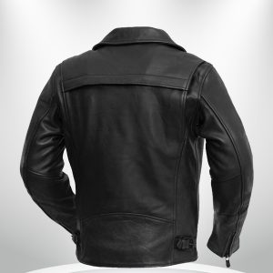 Night Rider Rockstar BlackMaroon Men's Leather Motorcycle Jacket back